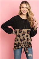 S9-3-3-PPT2009-BKTP - RIB DETAIL PUFF SLEEVED LEOPARD CONTRAST KNOT TOP- BLACK TAUPE 1-2-2-2