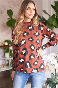 S8-9-3-PPT2010-RST - PUFF SLEEVE HIGH NECKLINE LEOPARD TOP- RUST 1-2-2-2
