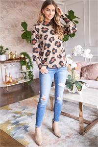 S8-9-3-PPT2010-TP - PUFF SLEEVE HIGH NECKLINE LEOPARD TOP- TAUPE 1-2-2-2