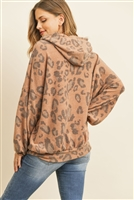 S4-2-3-PPT2012-MCBWN - LEOPARD BRUSHED HACCI PUFF SLEEVED HOODIE WITH DRAWSTRINGS- MOCHA BROWN 1-2-2-2