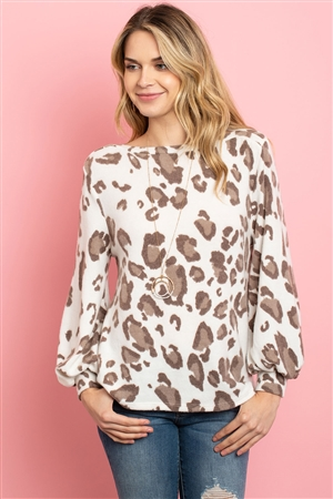 S9-7-2-PPT2013-IVBWN - LEOPARD BRUSHED HACCI PUFF SLEEVED BOAT NECK TOP- IVORY BROWN 1-2-2-2