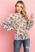 S9-7-1-PPT2013-LTCHL - LEOPARD BRUSHED HACCI PUFF SLEEVED BOAT NECK TOP- LATTE CHARCOAL 1-2-2-2