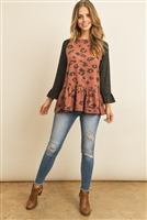 S6-1-1-PPT2014-RSTBK2T - TWO TONED SLEEVED ROUND NECK LEOPARD RUFFLE TOP- RUST/BLACK 2TONE 1-2-2-2