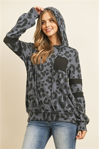 S11-1-1-PPT2019-CHLBK-1 - BRUSHED POCKET AND SLEEVED DETAIL LEOPARD PRINT HOODIE- CHARCOAL/NEW/RUST 0-2-2-2