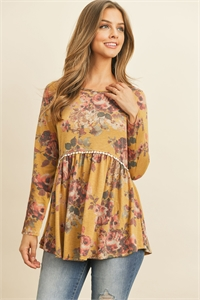S16-1-2-PPT2020-MURS - FLORAL LONG SLEEVED CINCH WAIST LACE DETAIL SWING TOP- MUSTARD/ROSE 1-2-2-2