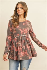 S16-1-2-PPT2020-WNRS - FLORAL LONG SLEEVED CINCH WAIST LACE DETAIL SWING TOP- WINE/ROSE 1-2-2-2