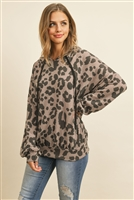 S8-2-4-PPT2022-TPBK - OVERSIZED LEOPARD PUFF SLEEVED HOODIE WITH DRAWSTRINGS- COCO/BLACK 1-2-2-2