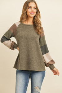 S15-2-1-PPT2023-AGCHMC - MULTICOLOR STRIPES SLEEVED GARY RIB SWEATER- ARMY GREEN CHARCOAL 1-2-2-2