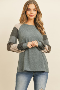 S15-2-4-PPT2023-IDGGYCH - MULTICOLOR STRIPES SLEEVED GARY RIB SWEATER- INDIGO GREY CHARCOAL 1-2-2-2