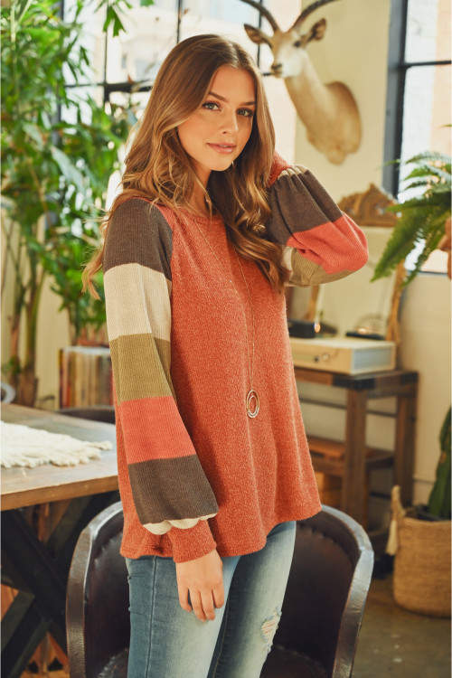 S15-2-4-PPT2023-RSTBKOV - MULTICOLOR STRIPES SLEEVED GARY RIB SWEATER- RUST BRICK OLIVE 1-2-2-2