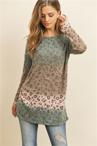 S4-2-1-PPT2025-TLPCHBWN - OVERSIZED LONG SLEEVED OMBRE LEOPARD TOP- TEAL/PEACH/BROWN 1-2-2-2
