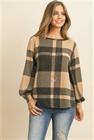 S8-1-4-PPT2026-LTTPBK - BOAT NECK PUFF SLEEVED PLAID TOP- LIGHT TAUPE/BLACK 1-2-2-2