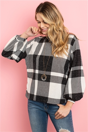 S8-1-4-PPT2026-OFWBK - BOAT NECK PUFF SLEEVED PLAID TOP- OFF-WHITE/BLACK 1-2-2-2