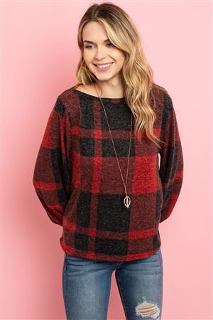 S8-1-4-PPT2026-RDBK - BOAT NECK PUFF SLEEVED PLAID TOP- RED/BLACK 1-2-2-2