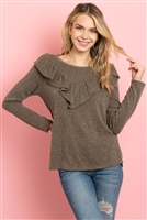 S14-5-4-PPT2027-AG - V-SHAPED RUFFLE DETAIL LONG SLEEVE TOP- ARMY GREEN 1-2-2-2