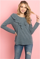 S14-5-4-PPT2027-IDG - V-SHAPED RUFFLE DETAIL LONG SLEEVE TOP- INDIGO 1-2-2-2
