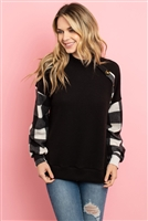 S10-10-3-PPT2029-BKIV - PLAID LONG SLEEVED BUTTON DETAIL SOLID BRUSHED TOP- BLACK IVORY 1-2-2-2