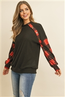S10-10-3-PPT2029-BKRD - PLAID LONG SLEEVED BUTTON DETAIL SOLID BRUSHED TOP- BLACK RED 1-2-2-2