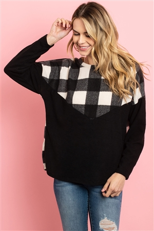 S8-2-4-PPT2030-BKIV - PLAID CONTRAST LONG SLEEVED BRUSHED TOP- BLACK/IVORY 1-2-2-2