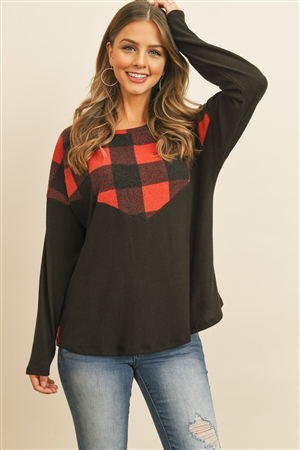 S8-2-4-PPT2030-BKRD - PLAID CONTRAST LONG SLEEVED BRUSHED TOP- BLACK/RED 1-2-2-2
