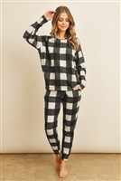 S16-1-2-PPT2031-BKIV - BRUSHED PLAID TOP AND JOGGERS SET WITH SELF TIE- BLACK IVORY 1-2-2-2