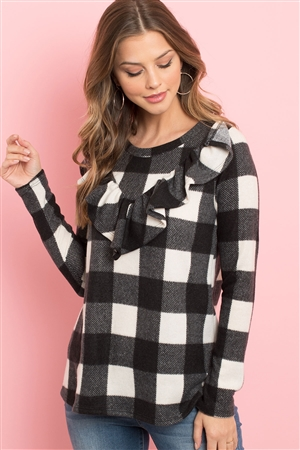 S6-1-2-PPT2032-BKIV - V-SHAPED BRUSHED PLAID RUFFLE DETAIL LONG SLEEVE TOP- BLACK IVORY 1-2-2-2