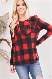 S6-1-2-PPT2032-BKRD - V-SHAPED BRUSHED PLAID RUFFLE DETAIL LONG SLEEVE TOP- BLACK RED 1-2-2-2