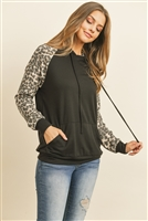 S8-13-4-PPT2034-BK - LEOPARD CONTRAST KANGAROO POCKET HOODIE WITH SELF TIE- BLACK 1-2-2-2