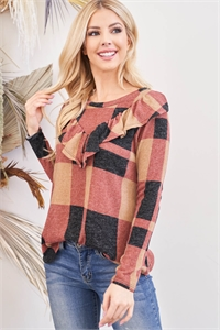 S4-1-1-PPT2035-TPBK - PLAID V-SHAPED RUFFLE DETAIL LONG SLEEVE TOP- TAUPE/BLACK 1-2-2-2