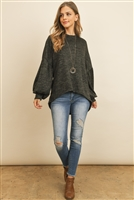 S4-7-3-PPT2037-CHL - TWO TONE PUFF SLEEVE HIGH LOW HACCI BRUSHED TOP- CHARCOAL 1-2-2-2