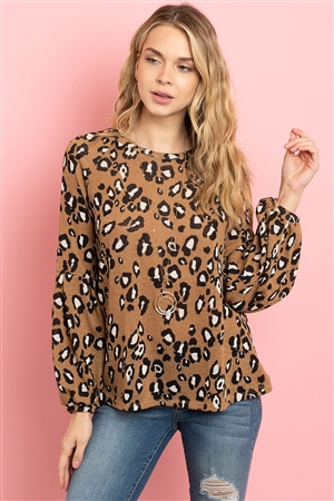 S8-14-4-PPT2041-CML - ANIMAL PRINT PUFF SLEEVES ROUND NECK TOP- CAMEL 1-2-2-2