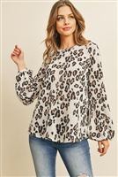 S8-14-2-PPT2041-OTM - ANIMAL PRINT LONG SLEEVED ROUND NECK TOP- OATMEAL 1-2-2-2