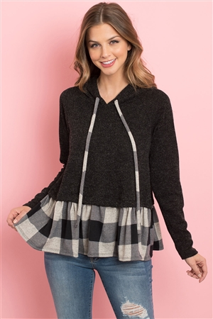 S8-10-4-PPT2042-BKOTMBK - SELF TIE LONG SLEEVE PLAID RUFFLE SWING HOODIE- BLACK/OATMEAL BLACK 1-2-2-2