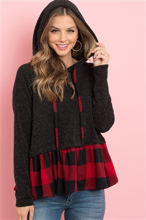 S8-10-4-PPT2042-BKRDBK - SELF TIE LONG SLEEVE PLAID RUFFLE SWING HOODIE- BLACK/RED BLACK 1-2-2-2