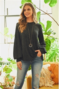 S5-2-2-PPT2043-BK - PUFF SLEEVED ROUND NECK POPCORN SWEATER- BLACK 1-2-2-2