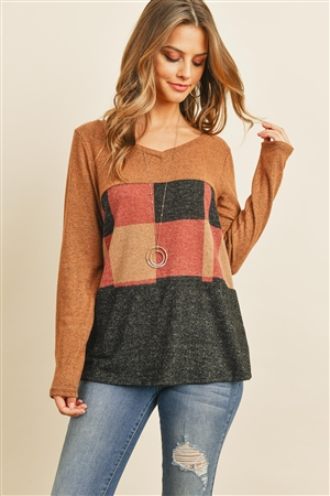 S14-4-4-PPT2044-AMTPBK - V-NECK LONG SLEEVES PLAID CONTRAST BRUSHED TOP- AMBER/TAUPE/BLACK 2TONE 1-2-2-2