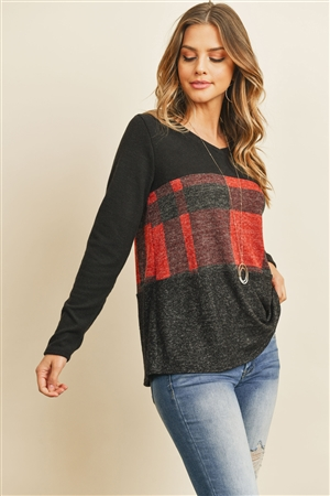 S14-4-4-PPT2044-BKRDBK - V-NECK LONG SLEEVES PLAID CONTRAST BRUSHED TOP- BLACK/RED/BLACK 1-2-2-2