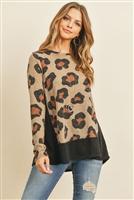 S14-10-4-PPT2046-TPBK -  LEOPARD LONG SLEEVES BOTTOM AND SIDE CONTRAST TOP- TAUPE/BLACK 1-2-2-2