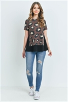 C68-A-3-PPT2046SS-MCBK -  LEOPARD SHORTS SLEEVES BOTTOM AND SIDE CONTRAST TOP- MOCHA/BLACK 1-2-2-2