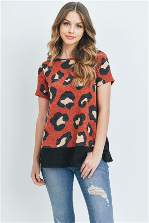C72-A-1-PPT2046SS-RSTBK -  LEOPARD SHORTS SLEEVES BOTTOM AND SIDE CONTRAST TOP- RUST/BLACK 1-2-2-2