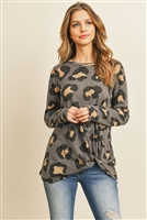 S4-2-1-PPT2047-GY - LONG SLEEVE ROUND NECK LEOPARD KNOT TOP- GREY 1-2-2-2
