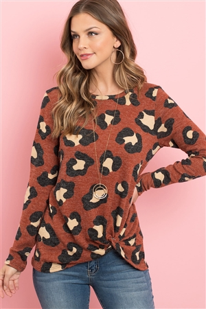 S4-2-1-PPT2047-RST - LONG SLEEVE ROUND NECK LEOPARD KNOT TOP- RUST 1-2-2-2
