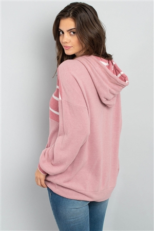 S12-3-3-PPT2048-MVNMVW - STRIPE CONTRAST HOODIE WITH KANGAROO POCKET- MAUVE/NEW MAUVE-WHITE 1-2-2-2