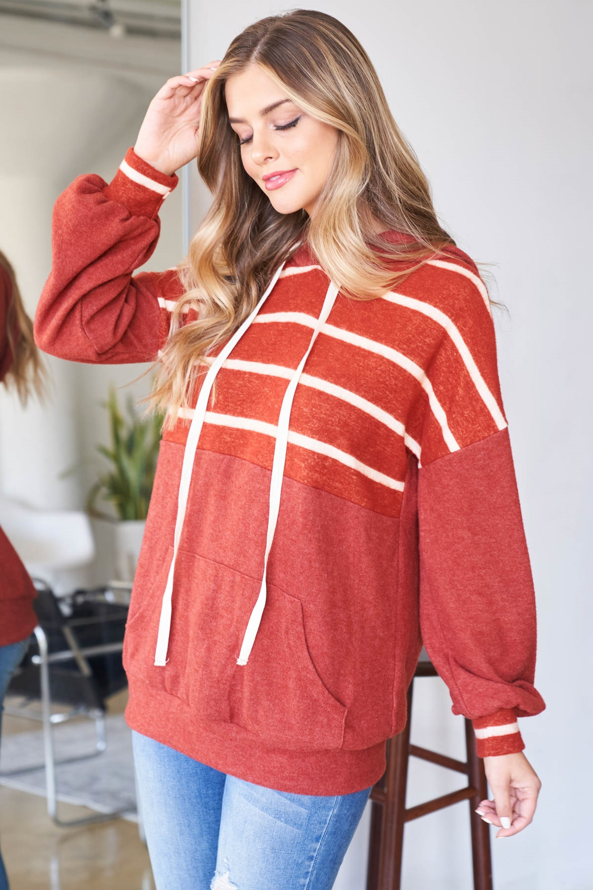 S12-3-3-PPT2048-RSTRSTWT - STRIPE CONTRAST HOODIE WITH KANGAROO POCKET- RUST/RUST-WHITE 1-2-2-2