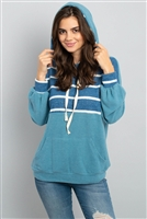 S12-3-3-PPT2048-TLTLWT - STRIPE CONTRAST HOODIE WITH KANGAROO POCKET- TEAL/TEAL-WHITE 1-2-2-2