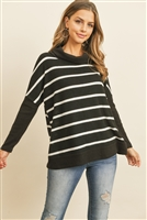 S4-8-1-PPT2050-BKWTBK - RIB DETAIL CONTRAST LONG SLEEVED COAL NECK STRIPED TOP- BLACK WHITE/BLACK 1-2-2-2