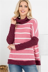 S9-1-1-PPT2050-MVWTWN - RIB DETAIL CONTRAST LONG SLEEVED COAL NECK STRIPED TOP- MAUVE WHITE/WINE 1-2-2-2