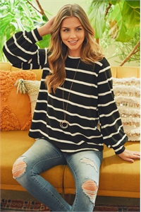 S4-3-2-PPT2052-BKWT - STRIPED LONG SLEEVED ROUND NECK SWING TOP- BLACK/WHITE 1-2-2-2