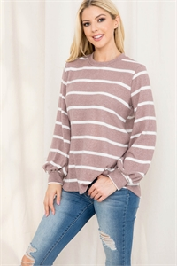 S8-13-1-PPT2052-MCWT-1 - STRIPED LONG SLEEVED ROUND NECK SWING TOP- MOCHA/WHITE 0-2-2-2