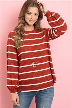 S8-13-1-PPT2052-RSTWT-1 - STRIPED LONG SLEEVED ROUND NECK SWING TOP- RUST/WHITE 0-2-2-2